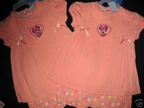 NWT LOT TWINS MINNE MOUSE PINK SUNSUITS DRESSES GIRL 24