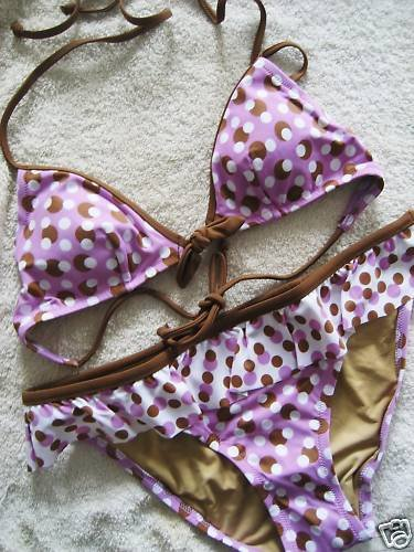 NEW VICTORIA SECRET POLKA DOT RUFFLE SKIRTED BIKINI M S