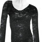 VICTORIA SECRET STRETCH LACE SCOOPNECK SHIRT TOP SHEER