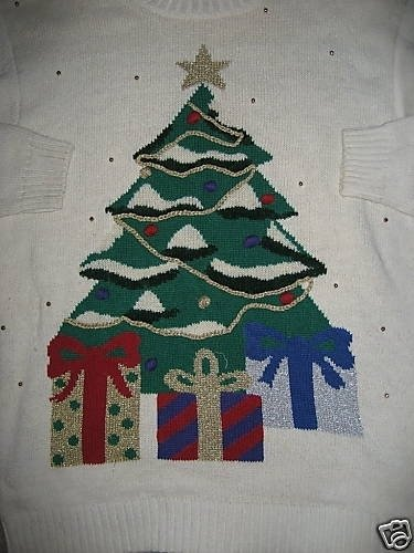 UGLY CHRISTMAS SWEATER GIANT CHRISTMAS TREE WHITE L