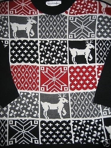 UGLY CHRISTMAS SWEATER PLAID REINDEER SNOWFLAKES L