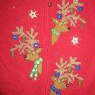 TACKY REINDEER CHRISTMAS UGLY SWEATER BEAD SEQUIN XL