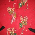 TACKY REINDEER CHRISTMAS UGLY SWEATER BEADS SEQUIN L