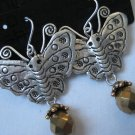 NEW CHICOS ANTIQUE SILVER DANGLE BUTTERFLY EARRINGS