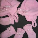 LOT TWINS PINK BOWS EAR FLAP HAT MITTENS BABY 12-18 mo
