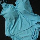 SEXY AQUA BLUE HORSESHOE METAL RING TANKINI SWIMSUIT