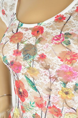 NeW SEXY SHEER LACE SUBLIMATION Floral TATTOO TUNIC TOP