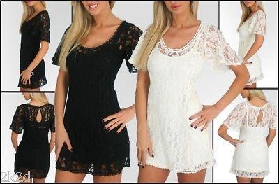 NEW SEXY SHEER LACE OVERLAY FLIRTY  KEYHOLE MiNi DRESS