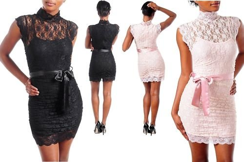 NeW LACE COLLAR CHOKER SHEATH FITTED WiGGLE MiNi DRESS