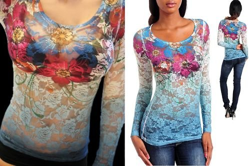 STRETCH ROSE LACE SHEER SUBLIMATION TATTOO TOP SHIRT