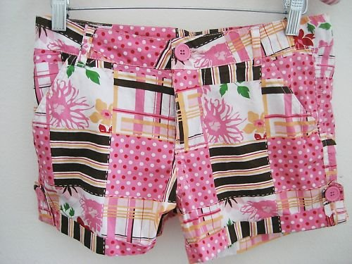 NEW GIRLS PINK MADRAS PLAID POLKA DOT FLORAL SHORTS 16