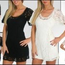 NEW VINTAGE STYLE LACE KEYHOLE SWING A-LINE MiNi DRESS TUNIC TOP + SHEATH LINER