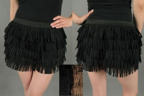 NEW SeXy HiPPie FRINGE RETRO FAUX SUEDE LEATHER SHORTS