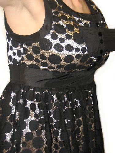 F21 FOREVER 21 SEXY NUDE NET LACE POLKA DOT  MINI DRESS