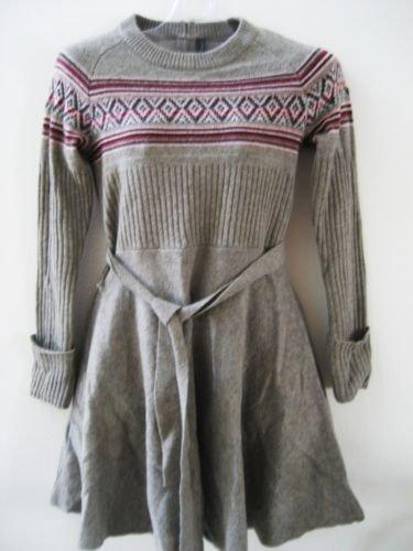 new VICTORIA SECRET Lambswool FAIR ISLE belted *TWIRL* SKIRT SWEATER DRESS M