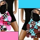 ReTRo PuNk Polka Dot RoCKABiLLY CIRCLE HANDBAG PURSE TOTE PINK AQUA