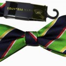 Mens Countess Mara Bow Tie Stripe Green Blue Red White One Size