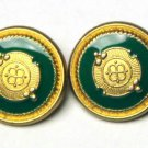 Two Varberg Blazer Buttons Gold Metal and Green Enamel