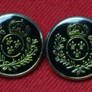 Two Blazer Buttons Gold & Black Crown Laurel Fleur de Lis Plastic