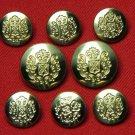 Men's New Dominion Blazer Buttons Set Gold Brass Shank