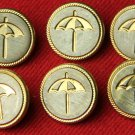 6 Metal Vintage Umbrella Buttons for Blazer Sleeves, Vests or Sweaters Hart Schaffner & Marx