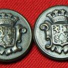 Two Men's Vintage Waterbury Blazer Buttons 1970s Gray Crown Shield