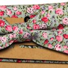 Men's Cedar Wood State Floral Bow Tie and Pocket Square Cotton