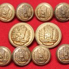 Men's Hardwick Vintage Blazer Buttons Set Antique Brass 1970s