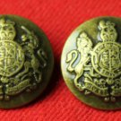 Two Mens Emperor Blazer Buttons Antique Gold Shank