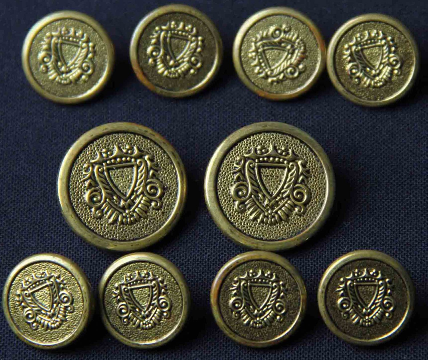 Men's Vintage Macy's Club Room Blazer Buttons Set Antique Brass