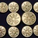 Men's Vintage Auxerre Blazer Buttons Set Brass Fleur de Lis