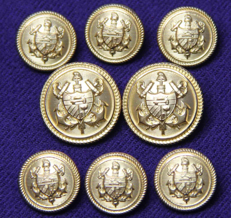 Men's Waterbury Blazer Buttons Set USA Brass Shank Nautical Theme