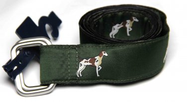 Men's Brooks Brothers D-Ring Ribbon Belt Hunting Hounds Green Size M