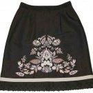 Women's Ann Taylor Loft Skirt Embroidered Linen Blend Size 0P