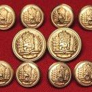 Mens Vintage Aldgate Blazer Buttons Set Gold Brass 1980s Shank