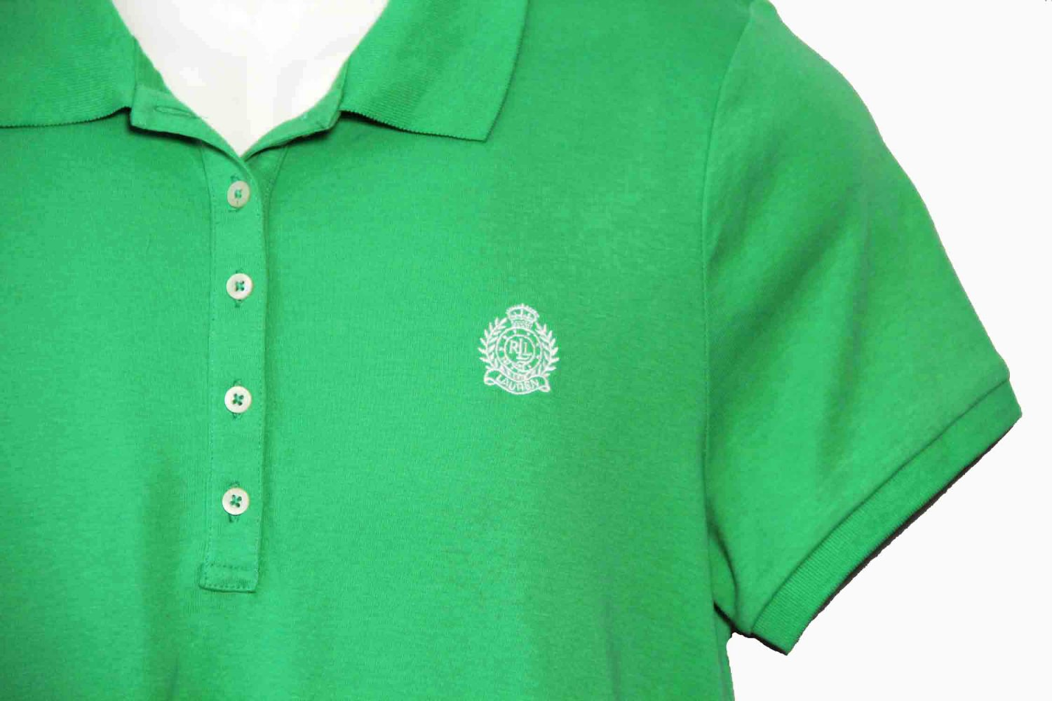 Womens Ralph Lauren Crested Polo Shirt Green Size Large