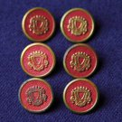 Men's Late 1960s Vintage MacGregor Buttons Red Gold Metal Shank