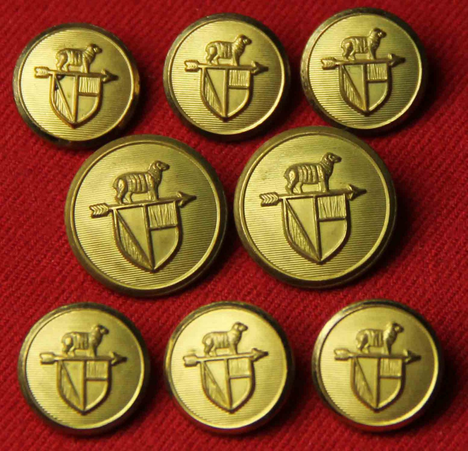 Mens Vintage Waterbury Blazer Buttons Set Gold Brass 1970s Sheep Weathervane