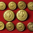 Mens Vintage Waterbury Blazer Buttons Set Gold Brass 1970s