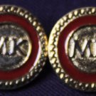 Two Michael Kors MK Monogram Blazer Buttons Red Gold Metal