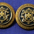 Two Vintage North Umbria Blazer Buttons Blue Gold Hard Plastic Shank