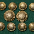 Mens Vintage Aquascutum Blazer Buttons Set Gold Regal Shield