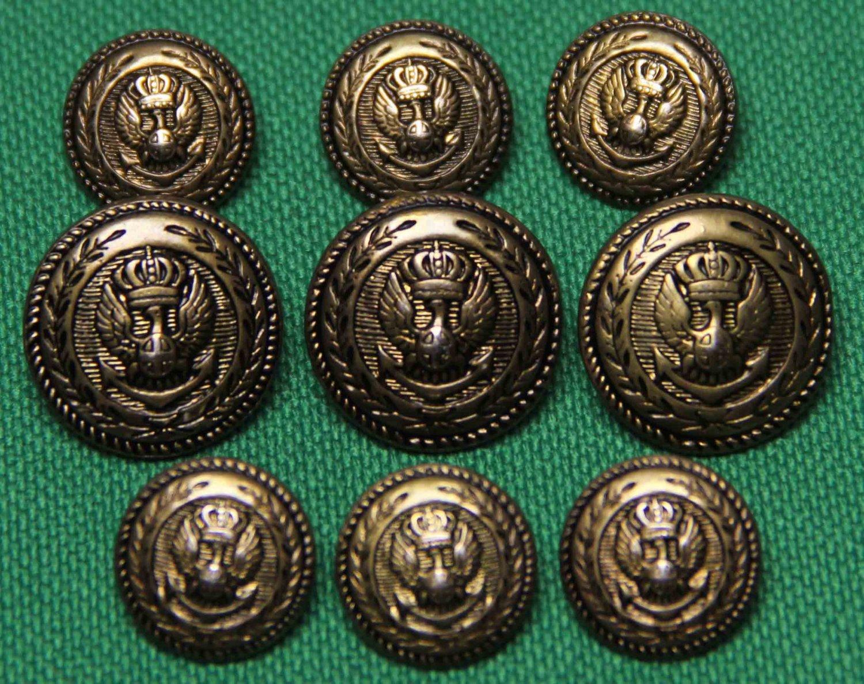 Mens Vintage Auxerre Blazer Buttons Set Antique Gold Eagle Shield Anchor 1980s