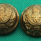 Two Mens 1960s Vintage Emperor Blazer or Coat Buttons Gold Copper Shank