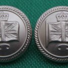 Two Men's British Isles Union Jack Flag Blazer Buttons Silver Metal Shank