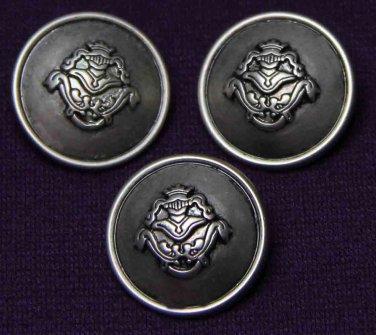 Three Mens Castile Blazer Buttons Pewter Gray Shank Metal