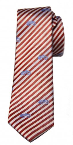 Mens Atlas Design Silk Tie Red Stripe with Blue Seahorse Pattern