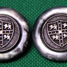 Two Mens Vintage Royal Kensington Blazer Buttons Gray Shield or Coat of Arms
