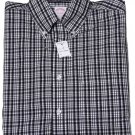 Mens Brooks Brothers Non-Iron Cotton Shirt Black White Plaid Size Small