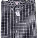 Mens Brooks Brothers Non-Iron Cotton Shirt Black White Plaid Size Small